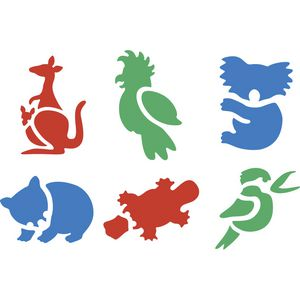 Educational Colours Australian Animals Stencils Set 1