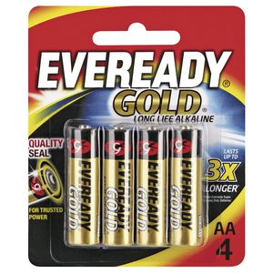 Eveready Gold Alkaline AA Batteries 4 Pack