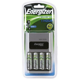Energizer 1 Hour Battery Charger and 4 AA NiMH Batteries
