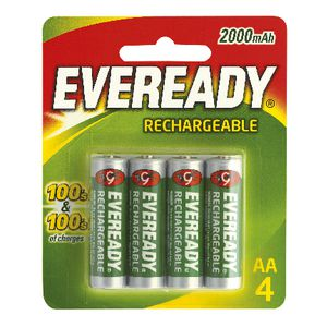 Eveready Recharge AA Batteries 4 Pack