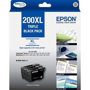 Epson 200 XL High Capacity Ink Cartridge Black 3 Pack