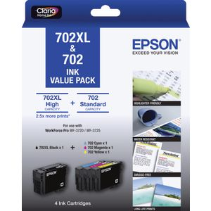 Epson 702 and 702XL 4 Colour Ink Cartridge Value Pack