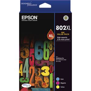 Epson 802XL 3 Colour Ink Cartridge Value Pack
