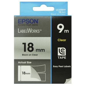 Epson LabelWorks Clear Tape 18mm x 9m Black on Clear Tape