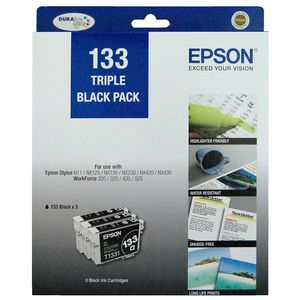 Epson 133 Ink Cartridge Black 3 Pack