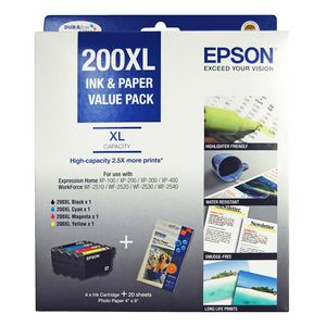 Epson 200 XL High Capacity Ink and Paper Mega Value Pack