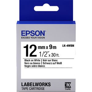 Epson LK Standard Tape 12mm x 9m Black on White