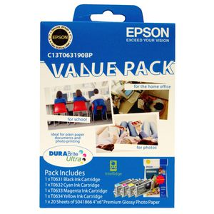 Epson T063 Ink and Photo Paper Value 5 Pack