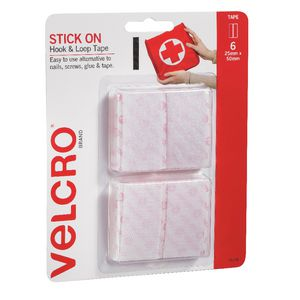 VELCRO Brand Hook and Loop Strips 20 x 50mm White 6 Pack