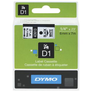 DYMO D1 Label Tape 6mm x 7m Black on White