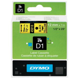 DYMO D1 Label Tape 12mm x 7m Black on Yellow