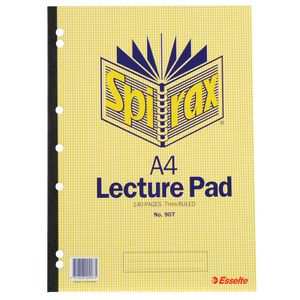 Spirax A4 No. 907 Lecture Pad 140 Page