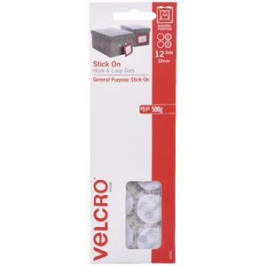 VELCRO Brand Hook and Loop Dots 22mm White 12 Pack