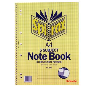 Spirax A4 5 Subject Notebook 250 Page