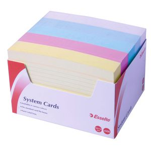 Esselte System Cards 102 x 152mm Assorted Colours 500 Pack