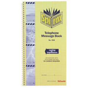 Spirax No. 558 Carbonless Designer Telephone Message Book