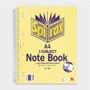 Spirax A4 3 Subject Notebook 300 Page