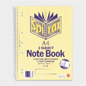 Spirax No.605 A4 2 Subject Notebook