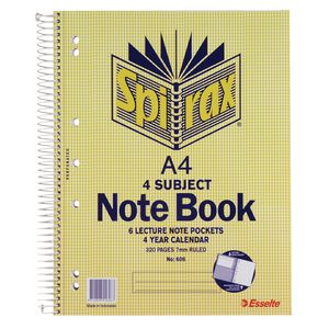 Spirax A4 4 Subject Notebook 320 Page