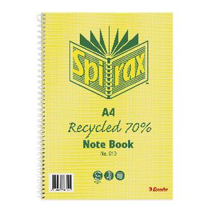 Spirax A4 No. 810 Recycled Notebook 120 Page