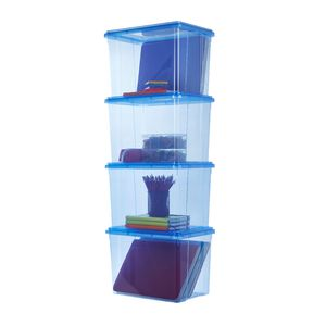 Ezy Storage 20L Storage Containers 4 Pack Blue  sc 1 st  Officeworks : flat pack plastic storage boxes - Aboutintivar.Com