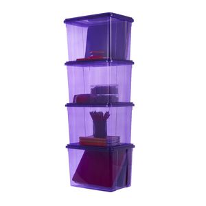 Ezy Storage 20L Storage Containers 4 Pack Purple
