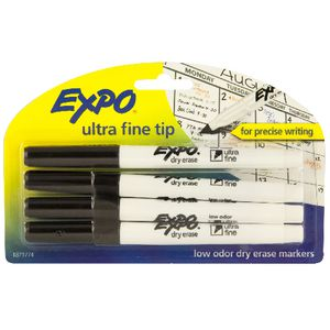 Expo Low Odour Whiteboard Markers Ultra Fine Black 4 Pack