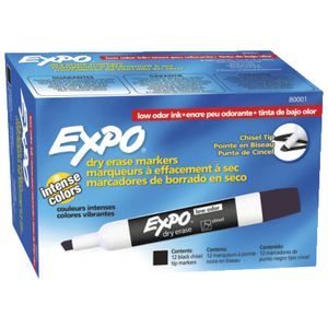Expo Whiteboard Marker Black 12 Pack