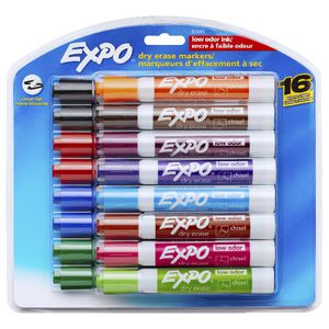 Expo Chisel Whiteboard Markers Assorted 16 Pack