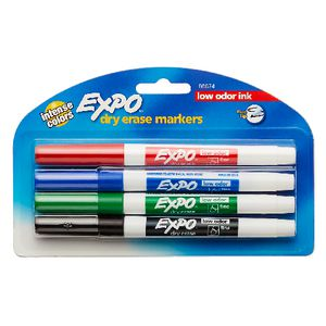 Expo Whiteboard Markers Fine Bullet Tip Assorted 4 Pack