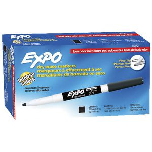 Expo Fine Whiteboard Marker Black 12 Pack