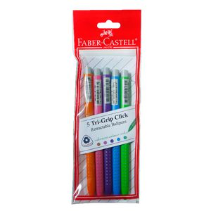 Faber-Castell Grip 2022 Retractable Pens Assorted 5 Pack