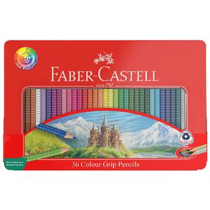 Faber-Castell Colour Grip Triangular Pencils Tin 36 Pack