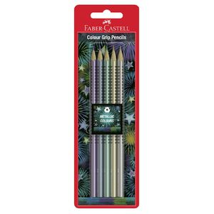 Faber-Castell Metallic Colour Grip Pencils 5 Pack
