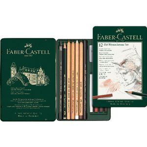 Faber-Castell Pitt Monochrome Tin Set 12 Piece