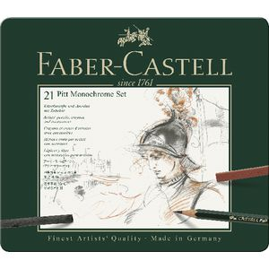 Faber-Castell Pitt Monochrome Tin Set 21 Piece