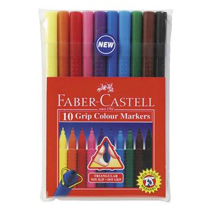 Faber-Castell Colour Grip Triangular Markers 10 Pack