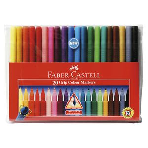Faber-Castell Colour Grip Triangular Markers 20 Pack