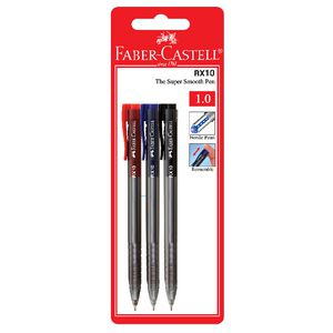 Faber-Castell RX10 Retractable Ballpoint Pens Fashion 3 Pack