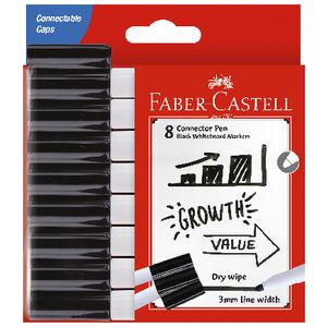 Faber-Castell Connector Whiteboard Markers Black 8 Pack