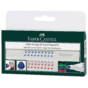 Faber-Castell Grip Whiteboard Bullet Markers Assorted 4 Pack