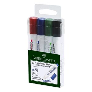 Faber-Castell Whiteboard Markers Chisel Nib Assorted 4 Pack