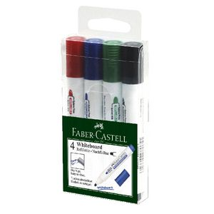 Faber-Castell Whiteboard Markers Bullet Nib Assorted 4 Pack