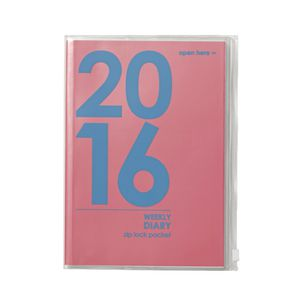 Otto A5 Week to View 2016 PVC Jacket Diary Pink