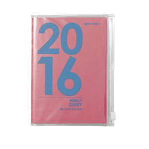 Otto A6 Week to View 2016 PVC Jacket Diary Pink