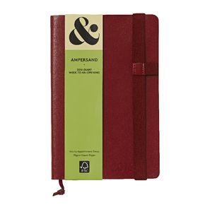 Ampersand A5 Week to View 2016 Split Leather Diary Red