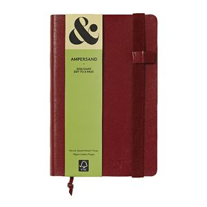 Ampersand A5 Day to Page 2016 Split Leather Diary Red