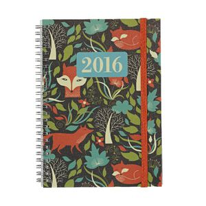 J.Burrows A5 Week-to-view 2016 Spiral Diary Foxes