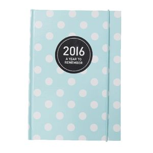Otto A5 Week to View 2016 Diary Teal Polka Dot