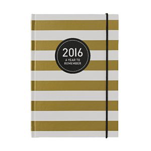 Otto A5 Day to Page 2016 Diary Gold Stripe